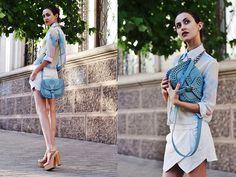 Tina Sizonova - Choies Shirt, Braska Bag, Bcbg Heels - Splash-Ink print.