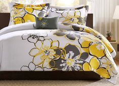 Such a #GORGEOUS Yellow, White and Grey Floral #Bedding Set CLICK http://www.bedroom-decor-ideas.info/37/post/2013/11/yellow-white-and-grey-floral-bedding-set.html