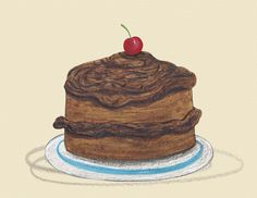 Delicious Chocolate cake! Illustration by Emma Levey for Yuck! said the Yak written by Alex English, published by Maverick Arts.