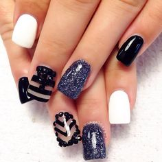 The blue and the white are amazing together. Im not big on the other designed nails though