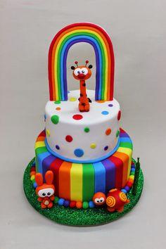 Baby TV Birthday Cake by Violeta Glace Rainbow Parties, Rainbow Birthday Party, Birthday Parties, Baby Birthday Cakes, 2nd Birthday, Birthday Ideas, Baby Tv Cake, Oreo Torta, Food Allergies