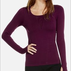 Fabletics Arta Long Sleeve Athletic Top Pretty plum-colored long sleeve with perforation detailing on front and back. Never worn, perfect condition. Fabletics Tops Tees - Long Sleeve