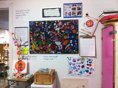 The Dot project Display in the art studio at Acorn School.