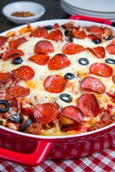 """Pepperoni Pizza Casserole! I've always thrown together a quick """"pizza casserole"""", but I don't know why I never thought of adding ricotta! Good idea!"""