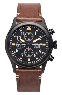 Jack Mason Brand Chronograph Leather Strap Watch, 42mm