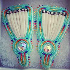 Large Dentalium Shell Fan Earrings