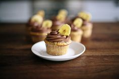 No muffin vibes here. Caramelizing the bananas in salted butter intensifies the flavor drastically and makes these cupcakes so darn yummy! Banana Cupcakes, Chocolate Cupcakes, Chocolate Ganache, Muffins, Chocolate Cream Cheese Frosting, Banana Chips, Baked Banana, Banana Recipes, Salted Butter