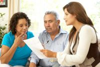 hispanic couple getting advice