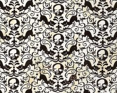 eerie black cat skull lace ivory cat skullhalloween fabricsugar - Halloween Lace Fabric