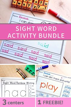 Kindergarten sight word literacy centers to practice sight word recognition and spelling. A fun and easy way to work on sight words the whole year. Fry Sight Words, Learning Sight Words, Sight Word Activities, Fun Learning, Literacy Skills, Kindergarten Activities, Literacy Centers, Preschool, Word Study