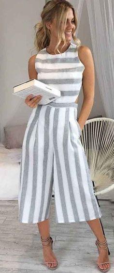 fashion whole woman summer Sleeveless Striped Jumpsuit Casual Wide Leg Pants Outfit combinaison femme 2018 body feminino Fashion Mode, Fashion Outfits, Womens Fashion, Latest Fashion, Fashion Trends, Fashion Styles, Fashion Clothes, Style Fashion, Cheap Fashion