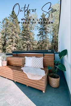 Here's a few DIY tips on how to install and style an outdoor home spa. Outdoor Spaces, Outdoor Living, Outdoor Decor, Backyard Patio Designs, Home Spa, Al Fresco Dining, Outdoor Settings, Rustic Design, Porch Swing