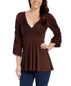 Another great find on #zulily! Brown Ruched Empire-Waist Top #zulilyfinds