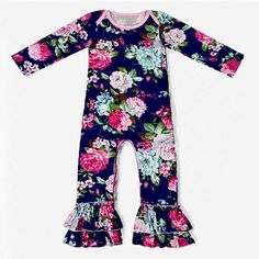 3a89ef48a35 Navy Blue Floral Long Sleeve Ruffle Romper