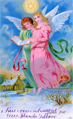 Joyeux Noël - Deux anges au-dessus de la campagne enneigée tiennent un livre, brille l'Étoile de Noël (from http://mercipourlacarte.com/picture?/1406/)