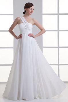 Robe de soirée blanche longue asymétrique