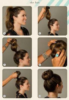 Long hairstyle tutorial with cute bun hair.
