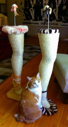 A Christmas Story themed cat scratching post leg pet furniture