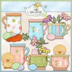 Grandma's Easter Sunday Teacups 1 - NE Cheryl Seslar Clip Art : Digi Web Studio, Clip Art, Printable Crafts & Digital Scrapbooking!