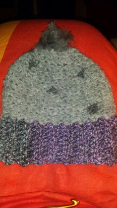 Purple and grey beanie
