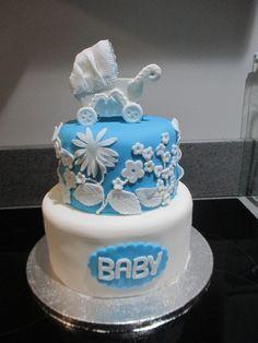 Baby shower cake with vintage pram Vintage Pram, Baby Shower Cakes, Desserts, Food, Cakes Baby Showers, Tailgate Desserts, Deserts, Essen, Postres