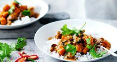 pompoencurry met linzen en paddenstoelen