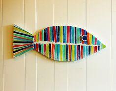 Striped Wooden Fish Cape Cod Coastal Beach Lake por sodiumgifts