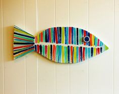 Striped Wooden Fish Cape Cod Coastal Beach Lake por sodiumgifts