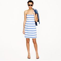 J. Crew Strapless Blue And White Striped Dress