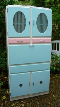 Retro Vintage Kitchen Cabinet Cupboard Unit Kitchenette Larder ...