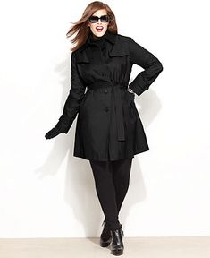 DKNY Plus Size Coat, Quilted Trench Raincoat - Plus Size Coats - Plus Sizes - Macy's