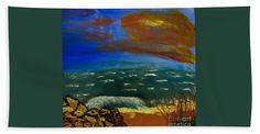 Rock Bath Sheet featuring the painting Rocky Beach by Scott Hervieux