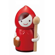 Keep your sugar or spice both fresh and nice with this fairy-tale themed ceramic Little Red Riding Hood ceramic canister from Japan! This cute container comes with a removable top and a long wooden spoon that slides into Little Red's little arm!  The Little Red Riding Hood line is a series from Japanese housewares brand, Juice Planning. The Little Red Riding Hood line all features either Little Red, the Big Bad Wolf, or some combination of the two depending on the specific item.   Measures…