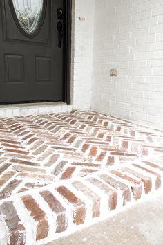 Brick Porch, Porch Tile, Concrete Porch, Porch Flooring, Brick Flooring, Brick Driveway, Brick Steps, Front Porch Design, Front Porches