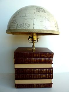 Book Furniture, Funky Furniture, Robinson Crusoe, Book Lamp, Library Room, Lighting Design, Lighting Ideas, Stack Of Books, Lampshades