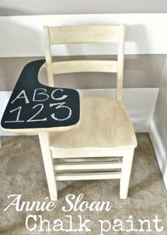 site has homemade chalkpaint recipe | above chalkboard paint a desk to repurpose the surface