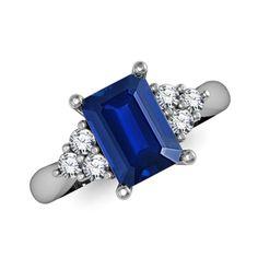 Emerald Cut Sapphire and Round Diamond Ring - Sapphire Jewelry - Jewelry | Angara.com