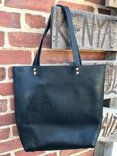 Black Leather Tote by Haiti Design Co-Op from Haiti