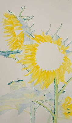 Watercolor demonstration of sunflowers by artist Lisa Hill Step 1