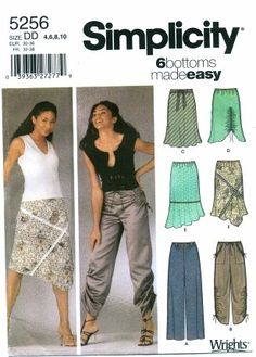 Simplicity 5256 Sewing Pattern Womens Pants Skirts by patternshop, $8.99