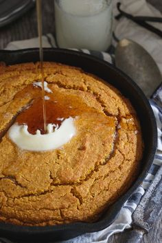 Skillet vanilla pumpkin cornbread is moist in the middle with crispy edges and somewhere right between savory and sweet. A must have side dish this fall.