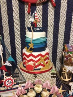 Incredible cake at a Nautical Birthday Party! See more party ideas at… Baby 1st Birthday, Pirate Birthday, Pirate Party, First Birthday Parties, Birthday Party Themes, Sailor Birthday, Birthday Ideas, Birthday Cake, Shower Bebe