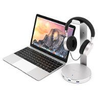 Satechi Aluminum USB Headphone Stand Holder with Three USB 3.0 Ports and 3.5mm AUX port - Suitable For All Headphone Sizes (Silver)