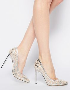 Pewter Cut Out High Heeled Court Shoes