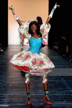 A model walks the runway at the Betsey Johnson fashion show during Spring 2016 New York Fashion Week: The Shows at The Arc, Skylight at Moynihan Station on September 11, 2015 in New York City.