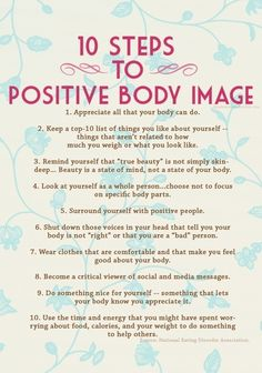 10 Steps to Positive Self-Image - PositiveMed great article to start a positive change
