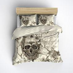 Featherweight Skull Bedding -  Sugar Skull and Flowers on Cream - Comforter Cover - Sugar Skull Duvet Cover, Sugar Skull Bedding Set