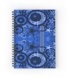 Blue Retro Circles and Stars | Hardcover journals also available in ruled line, graph, or blank.