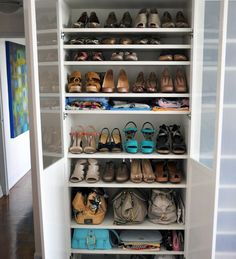 Can& afford custom closet shelving? There& a trusty IKEA product that will give you the look for a fraction of the price. It& the BILLY bookcase. Closet Shoe Storage, Diy Shoe Rack, Ikea Closet, Laundry Room Storage, Bedroom Storage, Closet Shelving, Shoe Racks For Closets, Shelves For Shoes, Shoe Closet Organization