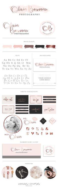 Pink Rose Gold Logo Set Branding Kit for Wedding Photography